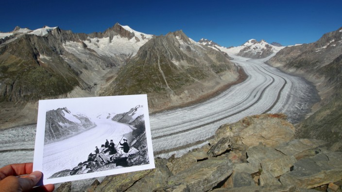 Picture of the Aletsch Glacier, taken between 1860 and 1890, is displayed in the same location in 2019