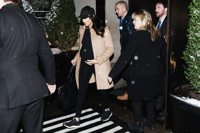 Meghan Markle, Duchess of Sussex, exits The Mark Hotel following her baby shower in New York