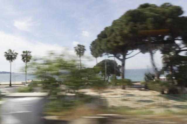 Zugfahrt bewegungsunscharfer Blick in die Landschaft aus dem fahrenden Zug zwischen Antibes und Nizz