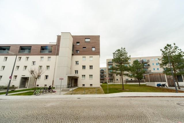 """Neubausiedlung der städtischen Wohnungsbaugesellschaft """"Gewofag"""" in München, 2019"""