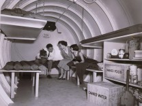 Interior of an underground atomic fallout shelter on Long Island, New York 1955. Courtesy Everett Collection PUBLICATION
