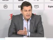 Video grab shows German Football League (DFL) CEO Seifert making a statement in Frankfurt
