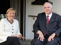 German Chancellor Angela Merkel meets with former Chancellor Helmut Kohl at his private house in Ludwigshafen-Oggersheim