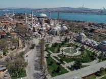 Normally busy but now mostly deserted historical Peninsula of Istanbul after the curfew declared by the government to s