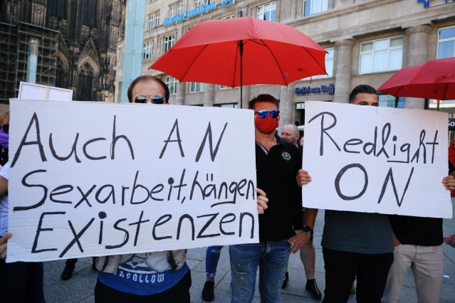 Brothel workers protest against the lockdown of their business in Cologne