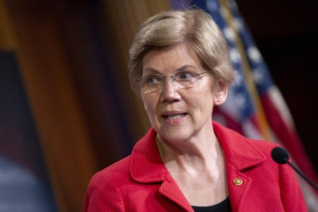 United States Senator Elizabeth Warren (Democrat of Massachusetts) speaks during a news conference on extended eviction