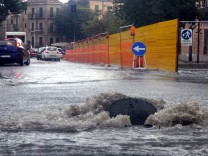 Palermo.Maltepo, torrential rain, inconvenience and flooding in the city.In the photo Piazza Indipendenza .IPh.Alessand