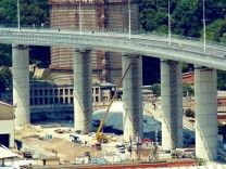 Latest work and finishing on the structure of the new bridge of Genoa San Giorgio Ex Ponte Morandi, which will be inaug