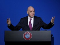 FILE PHOTO: FIFA President Gianni Infantino gestures during a UEFA Congress