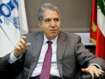 FILE PHOTO: Lebanon's Finance Minister Ghazi Wazni gestures as he speaks during an interview with Reuters in Beirut