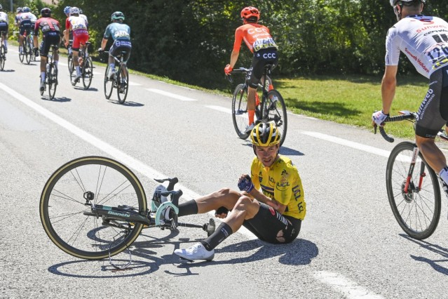 MEGEVE, FRANCE - AUGUST 15 : ROGLIC Primoz (SLO) of TEAM JUMBO - VISMA during stage 4 of the 72nd edition of the 2020 C