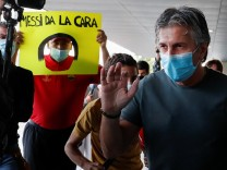 Jorge Messi, father and agent of soccer player Lionel Messi, arrives at airport in Barcelona