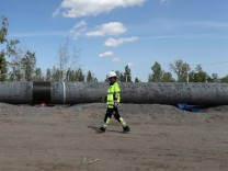 LENINGRAD REGION, RUSSIA - JUNE 5, 2019: The construction site of a section of the Nord Stream 2 natural gas pipeline n