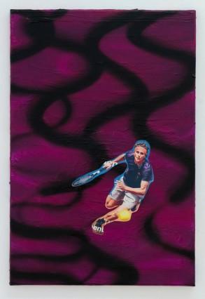 thomas von poschinger, COURT 4, 2020,  C-Print, Lack, Acryl auf Leinwand 60x40 cm
