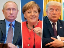 Wladimir Putin, Angela Merkel, Donald Trump