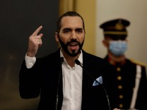 The President of El Salvador, Nayib Bukele, speaks during a speech to the nation in San Salvador, El Salvador, 24 Septe