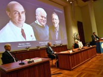 Perlmann, Secretary of the Nobel Assembly at Karolinska Institutet and of the Nobel Committee for Physiology or Medicine, announces Harvey J. Alter, Michael Houghton and Charles M. Rice as the winners of the 2020 Nobel Prize in Physiology or Medicine