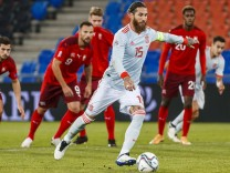 November 15, 2020, Basel, Switzerland: Sergio Ramos of Spain kicks a penalty during the UEFA Nations League group stage