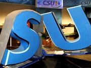 CSU-Logo wird abtransportiert, ddp
