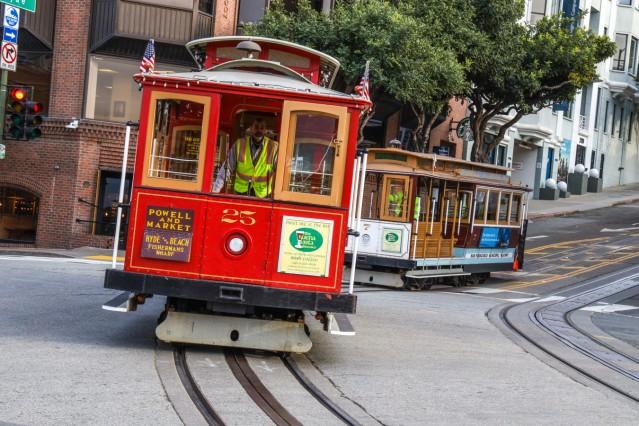 USA, United States of America, California, San Francisco, 20.02.2020: San Francisco Cable Cars. National Historic Landm