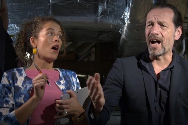 """Ebersberg Altes Kino Serie """"Die Heizer"""" Fotos vom Dreh Hauptrollen: Alexander Liegl und Peter Voith Regie Gabi Rothmüller"""