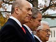 Olmert, Bush, Abbas, AFP
