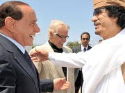 Berlusconi, Gaddafi; dpa