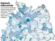 Hartz IV: Sanktionsquoten in Deutschland, Grafik: SZ