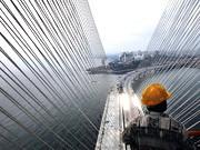 Brücke übers Arabische Meer Mumbai Indien Verkehrsinfarkt