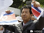 Nordkorea droht Südkorea, Proteste; Reuters