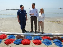 President Obama Tours Oil Spill Area In Gulf