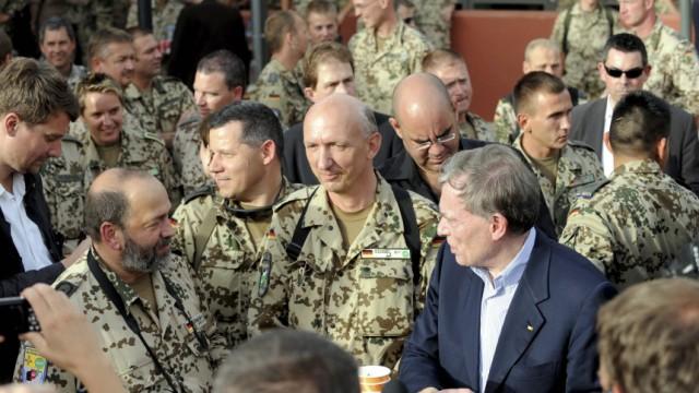 German President Koehler speaks to soldiers of the German army Bundeswehr in Mazar-i-Sharif