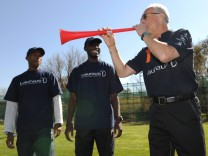 Franz Beckenbauer blows vuvuzela in 'Laureus Sports for All' project with South African youths in Erasmia