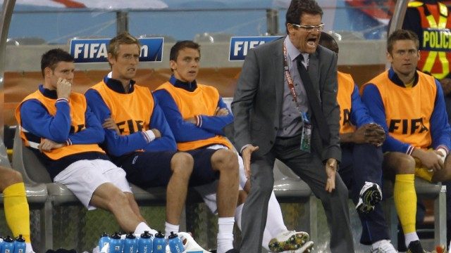 England's coach Fabio Capello shouts during his team's 2010 World Cup Group C soccer match against Algeria at Green Point stadium in Cape Town