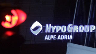 The logo of the Hypo Group Alpe Adria Bank is pictured at their headquarters in Klagenfurt