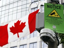 Newly installed video camera is seen on a downtown Toronto street for security at the upcoming G20 Summit in Toronto