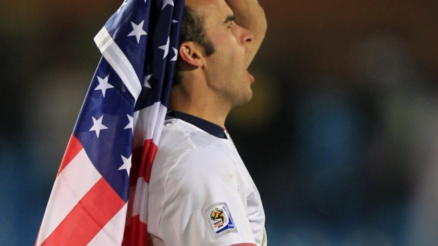 Donovan of the United States celebrates after his team defeated Algeria during a 2010 World Cup Group C soccer match at Loftus Versfeld stadium in Pretoria