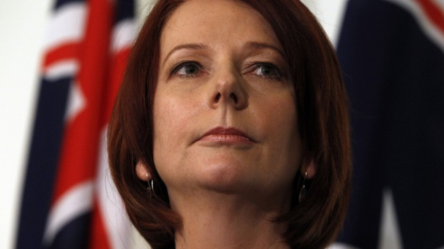 Gillard attends a news conference after a leadership ballot at Federal Parliament House in Canberra