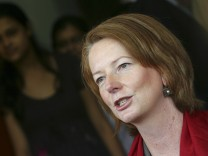File photo of Australia's Deputy PM Gillard at a women's college in New Delhi