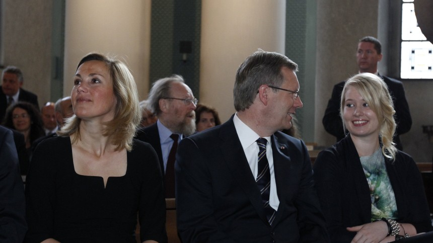 CDU party's presidential candidate Christian Wulff, his wife Bettina and daughter Annalena attend a church service in Berlin