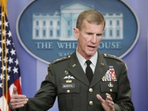 File photo of U.S. Army General Stanley McChrystal, commander of the U.S. Forces in Afghanistan, speaking to the media in Washington