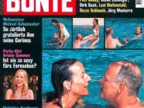 Titelblatt der BUNTEN: Rudolf Scharping und Kristina Pilati auf Mallorca im Pool
