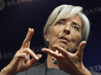 France's Finance Minister Lagarde speaks at the Atlantic Council in Washington