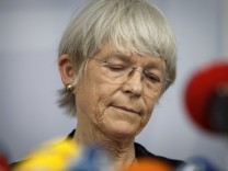 Maria Jepsen bishop of the North Elbian Evangelical Lutheran Church announces her resignation during a news conference in Hamburg