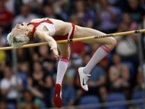 Friedrich of Germany competes in women's high jump competition at German athletic championships in Braunschweig