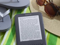 Publicity photo of the Amazon Kindle Wi-Fi e-book reader