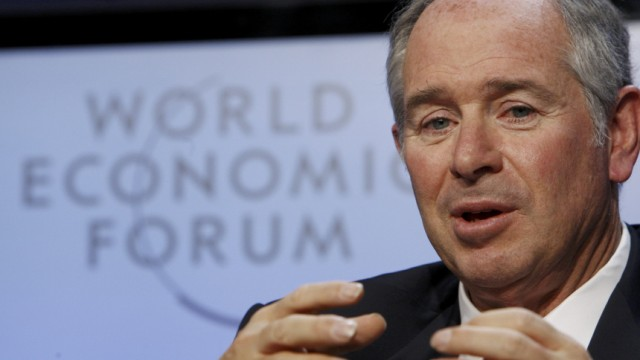 CEO of the Blackstone Group Stephen Schwarzman speaks during a session at the WEF in Davos