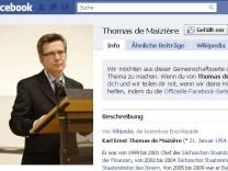 Thomas de Mazière, Facebook-Profil