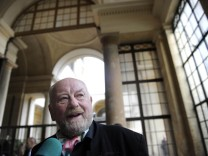 Danish cartoonist Kurt Westergaard speaks at a news conference before receiving the M100 Media Prize 2010 in Potsdam