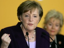 Steinbach listens to the speech of CDU leader and German Chancellor-designate Merkel in Berlin